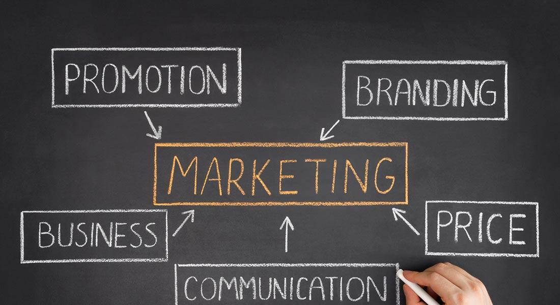 marketing terms written in chalk on a chalkboard