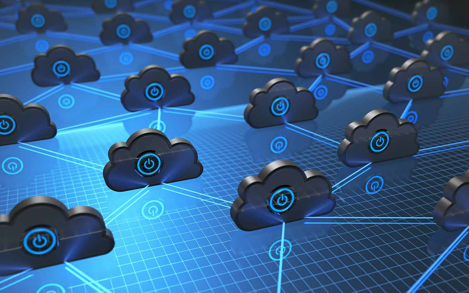 cloud software icons working together