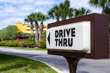 drive through restaurant sign
