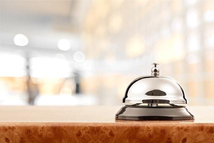 franchise hotel bell at front desk