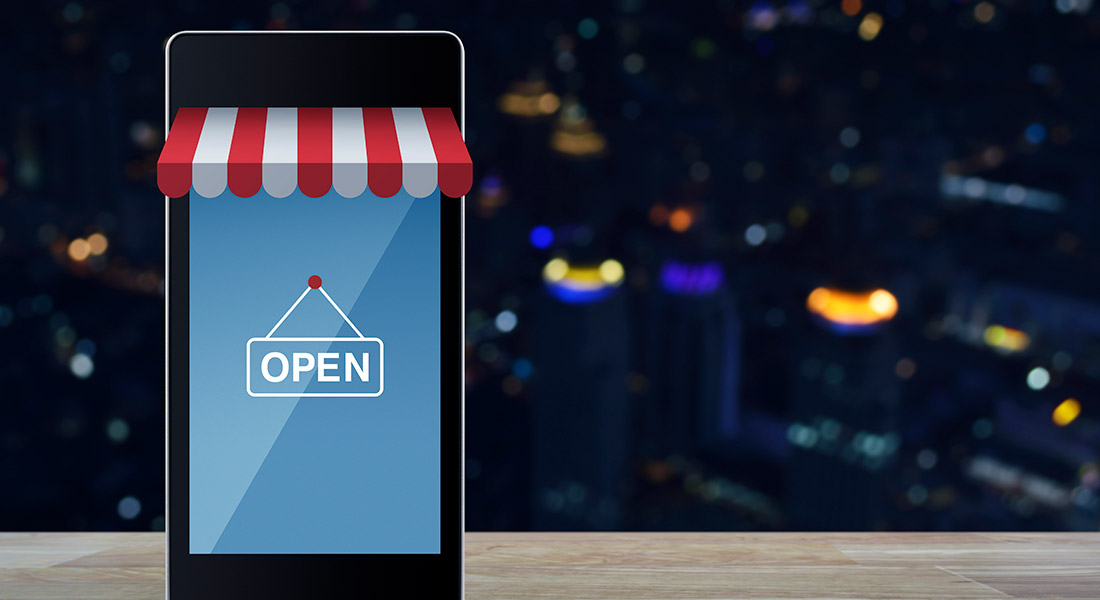 mobile device with store opening sign