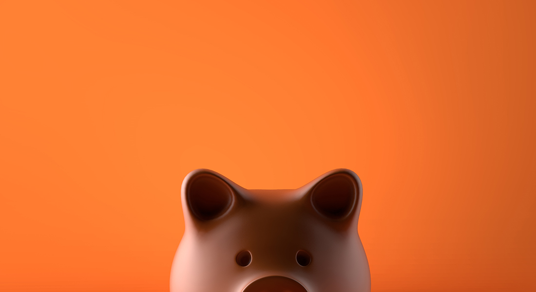 piggy bank with orange background