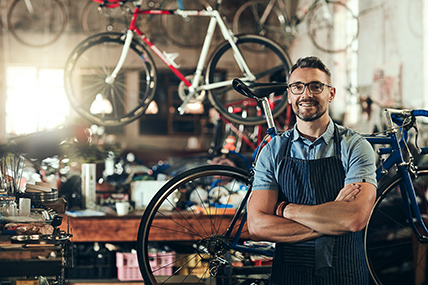 small business owner bike shop