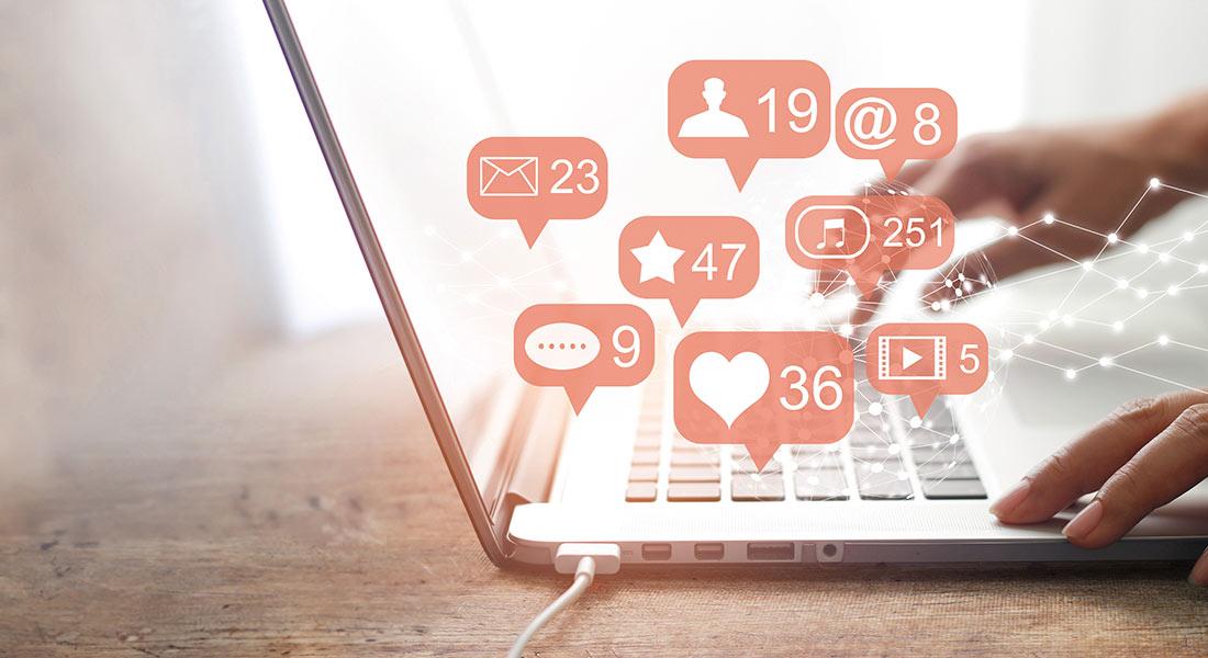 social media on a laptop computer