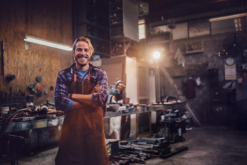 machine shop owner in his workshop