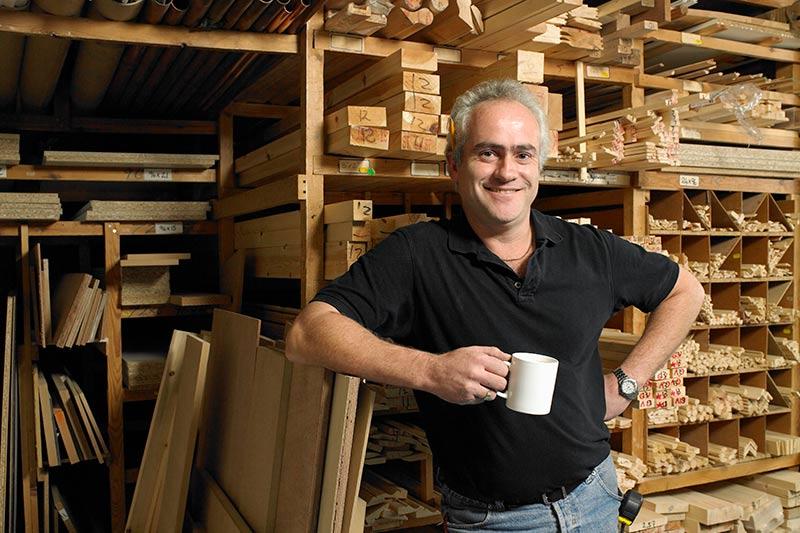 male employee in a woodworking shop